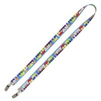 3/4 Inch Super Soft Polyester Multi-Color Sublimation Lanyard w/ Dual Attachments
