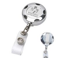 Round Chrome Solid Metal Sport Retractable Reel & Badge Holder w/Laser Imprint