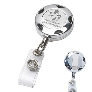 Round Chrome Solid Metal Sport Retractable Reel & Badge Holder w/Laser Imprint
