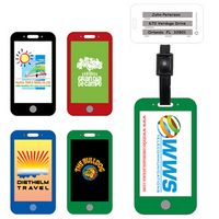 Stock Shape Mobile Cell Phone Luggage Bag Tag with Printed ID Panel