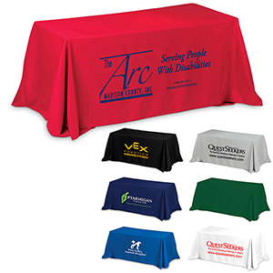 6 3-Sided Economy Table Covers & Table Throws (Spot Color Print) / Fit 6 Foot Table