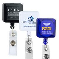 Square Retractable Badge Reel w/Metal Rotating Alligator Clip & Holder (Direct Print)