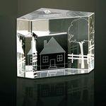 Custom Homeward Bound 3-D Multifaceted Optical Crystal Paperweight
