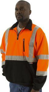 Custom High Visibility Orange ¼ Zip Sweatshirt with Black Bottom and Teflon Protector, ANSI 3, Type R