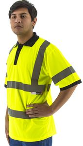 Custom High Visibility Yellow Short Sleeve Polo Shirt, ANSI 3, Type R
