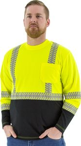 Custom High visibility yellow long sleeve shirt with reflective chainsaw Striping, ANSI 2, R