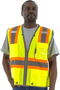 Custom High Visibility Yellow DOT Striping, D-Ring, Safety Vest, ANSI 2, Type R