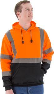 Custom High Visibility Orange Hooded Pullover Sweatshirt, ANSI 3, Type R