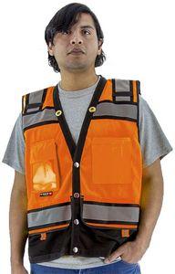 Custom High Visibility Orange Heavy Duty Surveyor's Safety Vest, ANSI 2, Type R