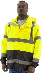 Custom High Visibility Yellow Waterproof Parka with Liner Options, ANSI 3, Type R