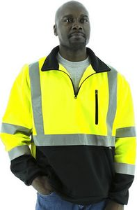 Custom High Visibility Yellow ¼ Zip Sweatshirt with Black Bottom and Teflon Protector, ANSI 3, Type R