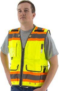Custom High Visibility Yellow Heavy Duty Surveyor's Vest DOT Striping, Safety Vest, ANSI 2, Type R
