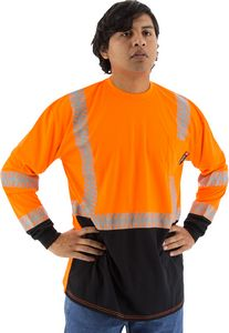 Custom High visibility orange long sleeve shirt with reflective chainsaw Striping, ANSI 2, Type R
