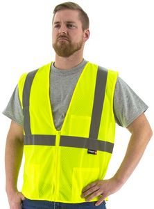 Custom High Visibility Yellow Mesh Vest, ANSI 2, Type R