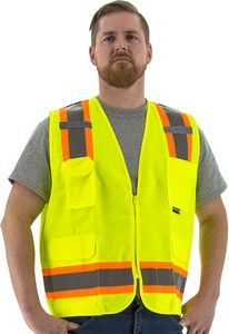 Custom High Visibility Yellow Safety Vest with Two-Tone DOT Striping, ANSI 2, Type R