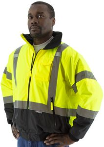 Custom High Visibility Yellow Waterproof Jacket with Removable Fleece Liner, ANSI 3, Type R