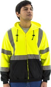 Custom High Visibility Yellow Hooded Sweatshirt with Zipper Closure, ANSI 3, Type R