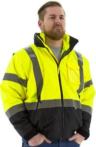 Custom High Visibility Yellow 8-in-1 Transformer Jacket with High Visibility Liner, ANSI 3, Type R