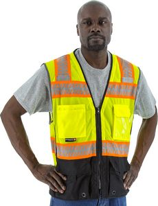 Custom High Visibility Yellow Safety Vest with DOT Reflective Chainsaw Striping, ANSI 2, Type R