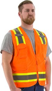 Custom High Visibility Orange Safety Vest with Two-Tone DOT Striping, ANSI 2, Type R