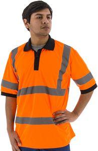 Custom High Visibility Orange Short Sleeve Polo Shirt, ANSI 3, Type R