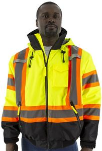 Custom High Visibility Yellow DOT Stripe Waterproof Jacket with Fixed Quilted Liner, ANSI 3, Type R
