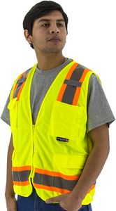 Custom High Visibility Yellow Mesh Safety Vest with Two-Tone DOT Striping, ANSI 2, Type R