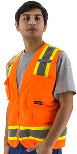 Custom Visibility Orange Mesh Safety Vest with Two-Tone DOT Striping, ANSI 2, Type R
