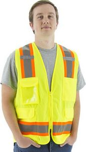 Custom High Visibility Surveyors Vest With Two-Tone Dot Striping, Ansi 2, R