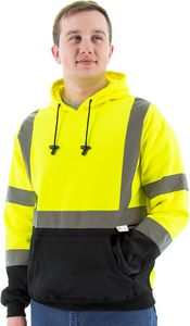 Custom High Visibility Yellow Hooded Pullover Sweatshirt, ANSI 3, Type R