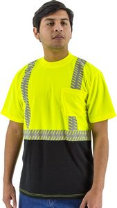 Custom High Visibility Yellow Short Sleeve Shirt with Reflective Chainsaw Striping, ANSI 2, Type R
