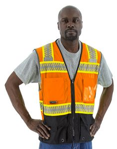 Custom High Visibility Orange Safety Vest with DOT Reflective Chainsaw Striping, ANSI 2, Type R