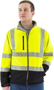 Custom High Visibility Yellow Water Resistant Softshell Jacket and Liner, ANSI 3, Type R