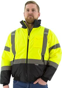 Custom High Visibility Yellow Waterproof Jacket with Fixed Quilted Liner, ANSI 3, Type R