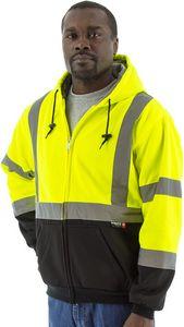 Custom High Visibility Yellow Hooded Sweatshirt with TEFLON Fabric Protector, ANSI 3, Type R