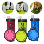 Custom 2 In 1 Portable Dog Water Food Bottle Container with folding bowl and Carabiners