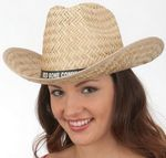 Custom Hi Crown Straw Texan Hat with Imprinted Band