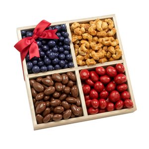 Custom Four Sectional Gourmet Chocolate, Sweets and Nuts Gift Tray