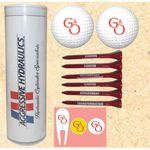 4-Color Image Insert Golf Ball Tube w/ 2 Golf Balls, 6 Tees, 2 Markers & 1 Fixer
