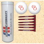 4-Color Image Insert Golf Ball Tube w/ 2 Golf Balls & Six 2 3/4