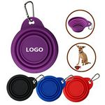 Custom Silicone Pet Collapsible Dog Bowl With Carabiner