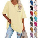 Custom Women's loose half sleeve V-neck T-shirt