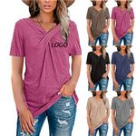 Custom Women solid collar knotted T-shirt