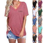Custom Women Summer Tops Short Sleeve Plain Solid Color Loose V-Neck Tee T-Shirt Blouse