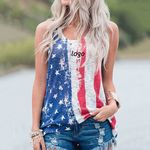 Custom women American flag printed casual sleeveless T-shirt with round neck