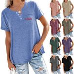 Custom Womens V Neck T Shirts Roll Up Sleeve Tops Casual Loose Tees with Pocket