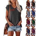 Custom Women's T-shirts Casual V Neck Short Sleeve Loose Summer Tunic Tops