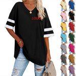 Custom Women casual short sleeve T-shirt color block tunic loose V-neck T-shirt