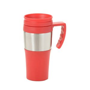 13.5 Oz. Plastic Travel Mug with Steel Accent