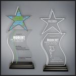 Custom Star Wave Clear Acrylic in Wood Base - Standard with Laser Engraving - Optional Color Printing